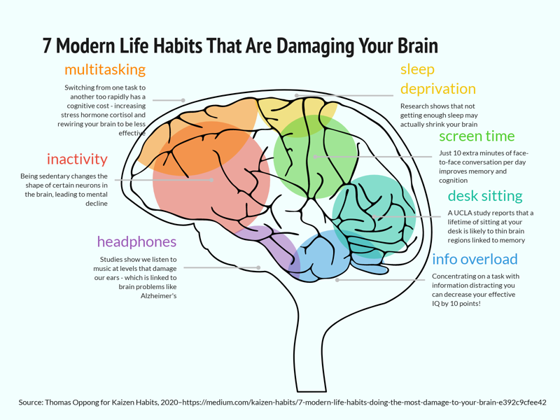 7 Modern Life Habits That Are Damaging Your Brain Brain Chart Example Vizzlo