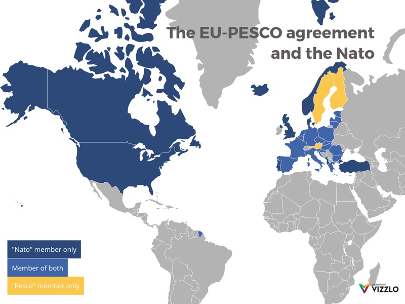 World Map example: The EU-PESCO agreement and the Nato